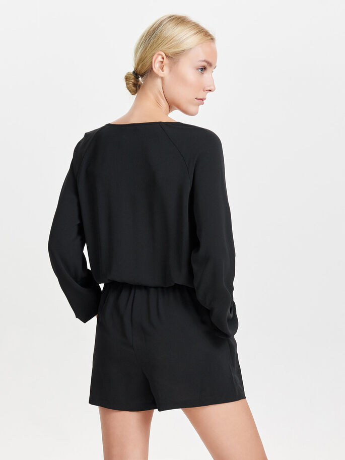 LONG SLEEVED PLAYSUIT, Black, large