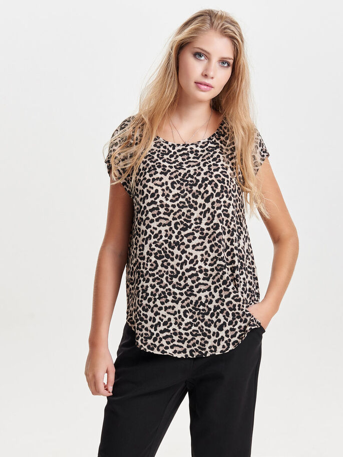 PRINTED SHORT SLEEVED TOP, Pumice Stone, large