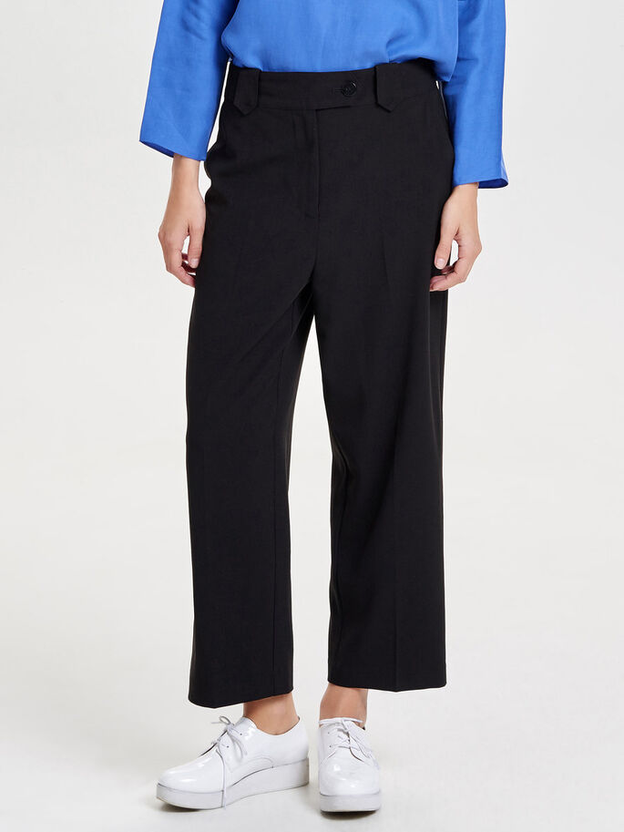 WIDE CROPPED TROUSERS, Black, large
