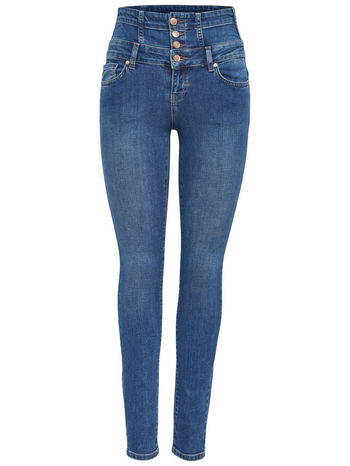 CORAL HÖGA SKINNY FIT-JEANS, Medium Blue Denim, large