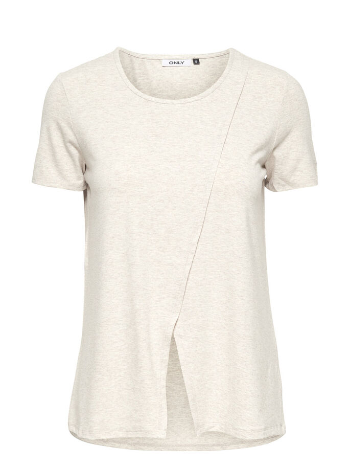 WRAP SHORT SLEEVED TOP, Oatmeal, large