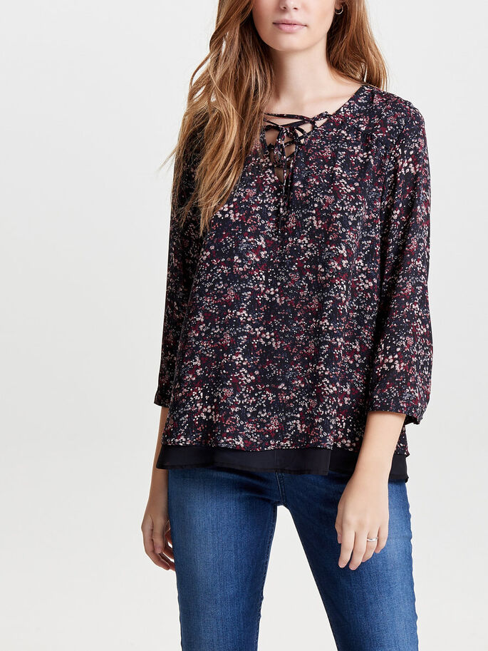 PRINTED 3/4 SLEEVED TOP, Rhododendron, large
