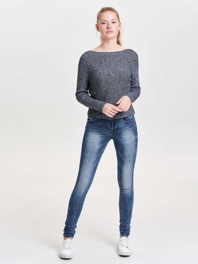 CROPPED KNITTED PULLOVER, Black, large