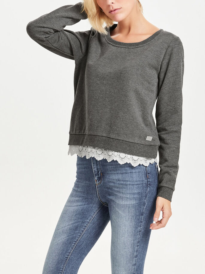 DETALJERAD SWEATSHIRT, Dark Grey Melange, large