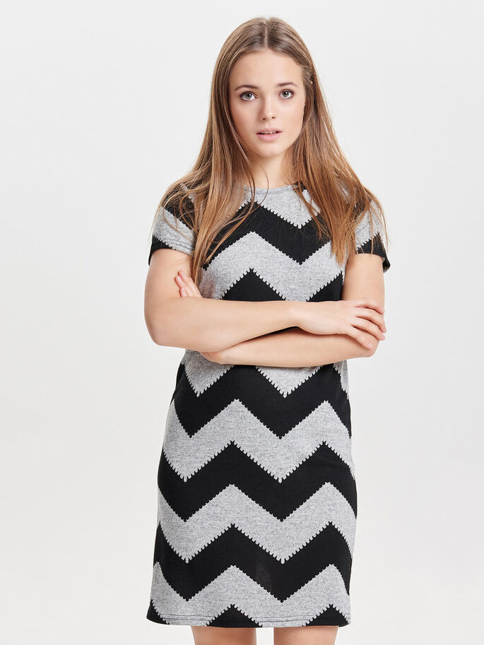 ZIGZAG JURK MET KORTE MOUWEN, Light Grey Melange, large