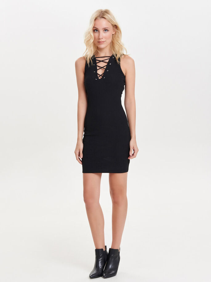 LACE-UP SHORT DRESS, Black, large