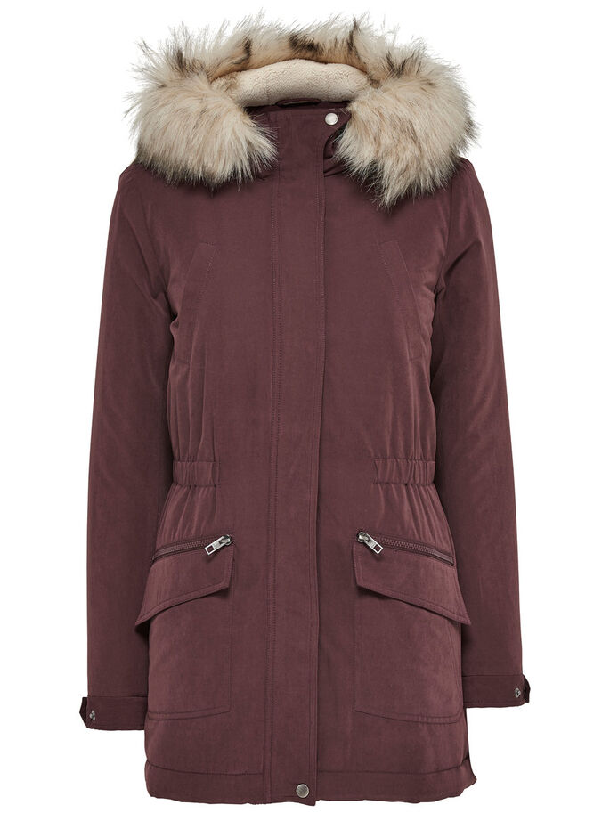 LONG PARKA COAT, Fudge, large