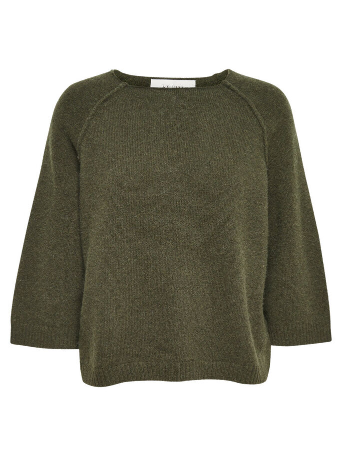 BESKUREN BLUS MED 3/4-ÄRMAR, Rifle Green, large