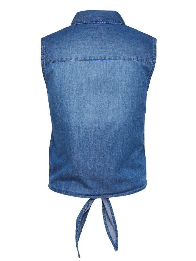 DENIM TIE UP SLEEVELESS SHIRT, Medium Blue Denim, large