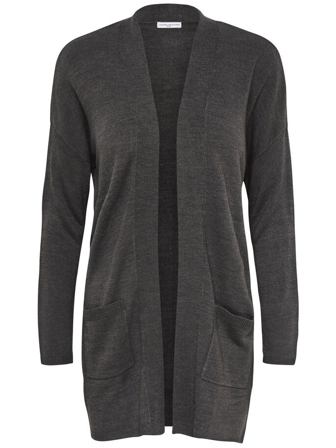 LOOSE KNITTED CARDIGAN, Dark Grey Melange, large
