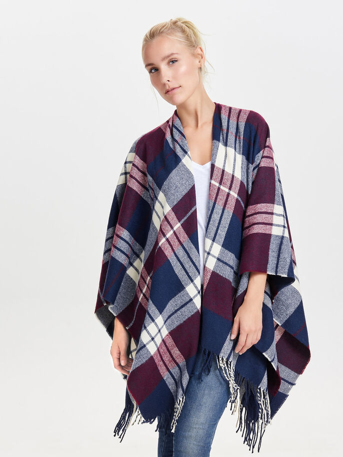 CHECKED PONCHO, Night Sky, large