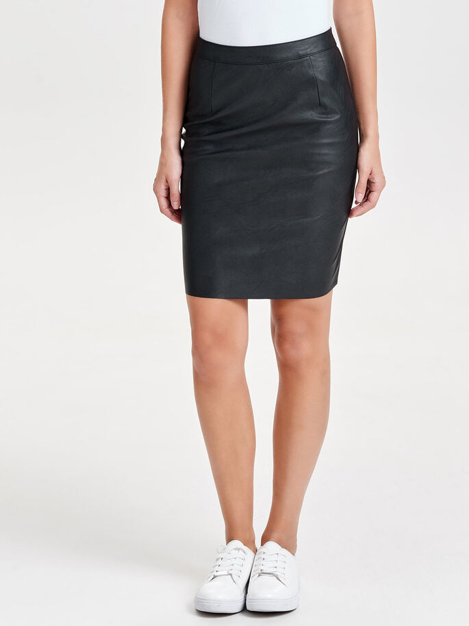 IMITERET LÆDER PENCIL SKIRT, Black, large