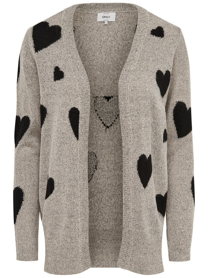 HEARTS KNITTED CARDIGAN, Pumice Stone, large
