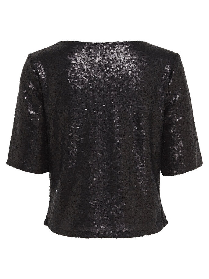 SEQUINS 2/4 SLEEVED BLOUSE, Black, large