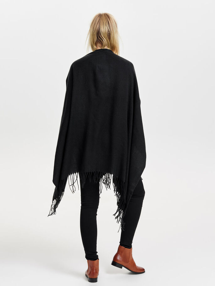 SOLID PONCHO, Black, large
