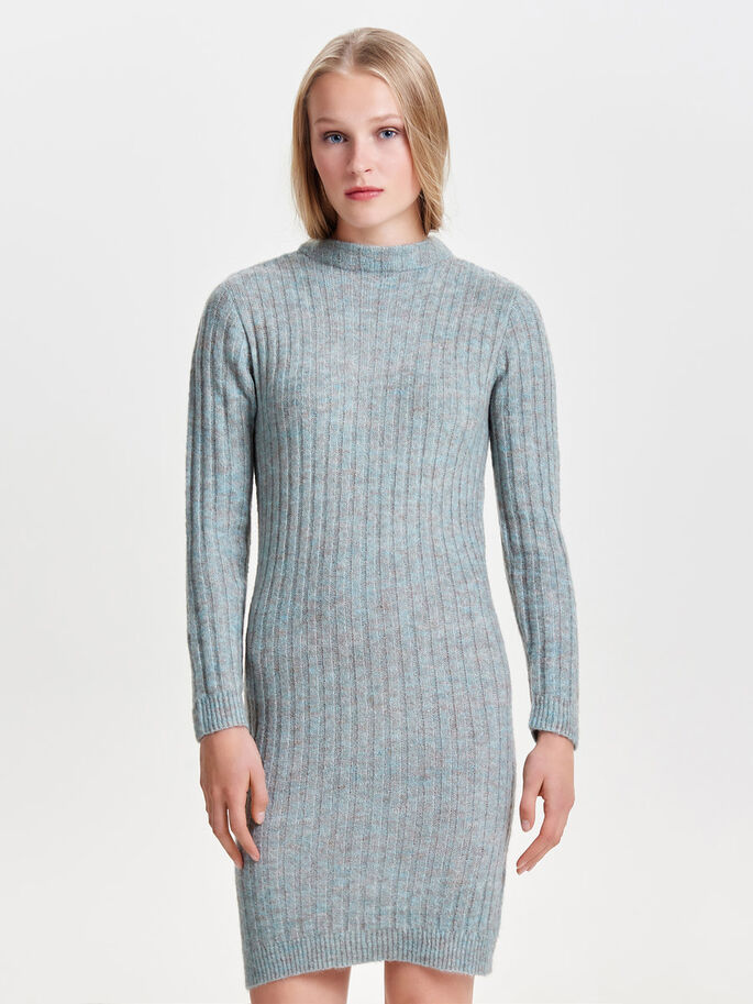 LONG SLEEVED KNITTED DRESS, Balsam Green, large