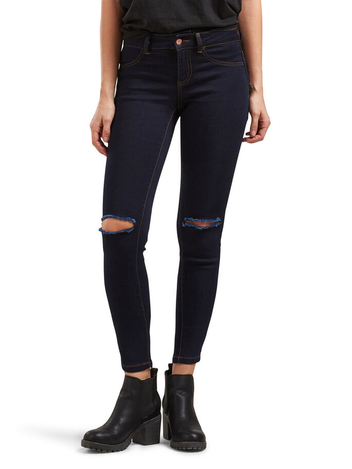 TAILLE BASSE FANO DÉCOUPE GENOU JEAN SKINNY, Indigo, large