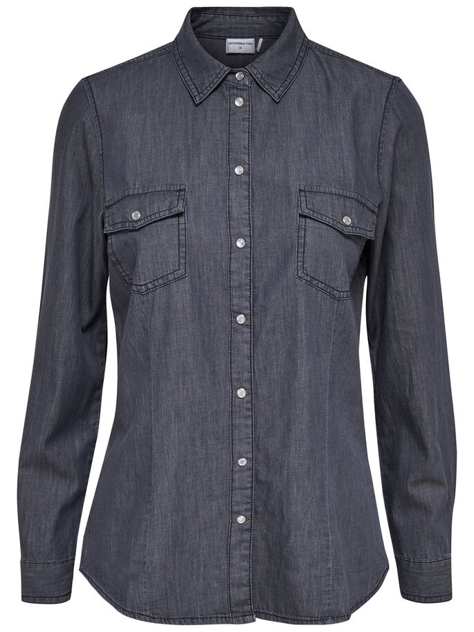 LØS LANGERMET SKJORTE, Dark Grey Denim, large