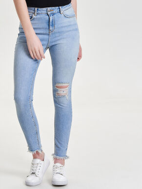 STUDIO HIGH WAIST ANKLE DESTROYED SKINNY FIT JEANS