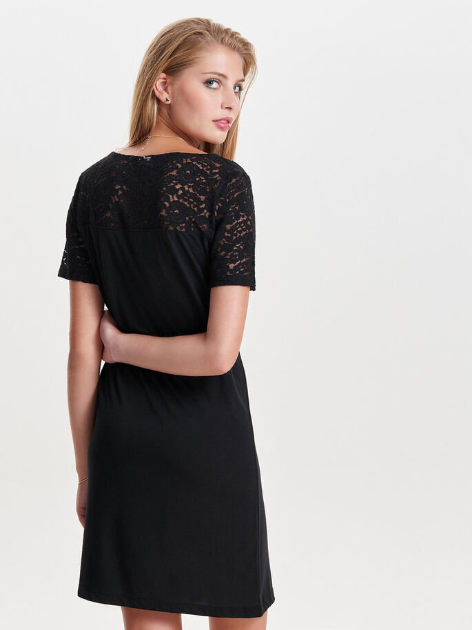 LACE SHORT SLEEVED DRESS, Black, large