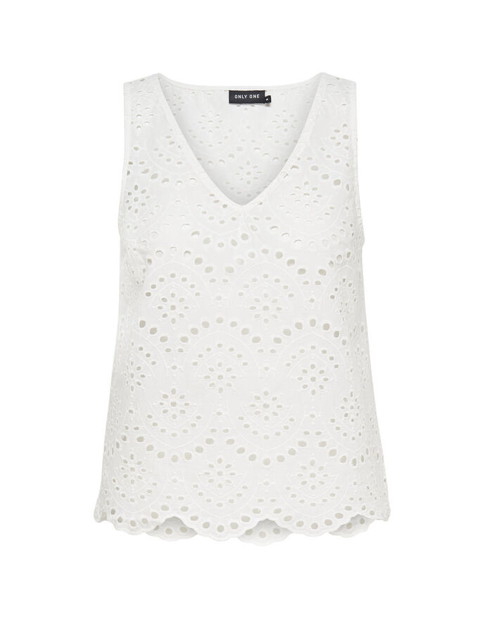 DETAILED SLEEVELESS TOP, Cloud Dancer, large