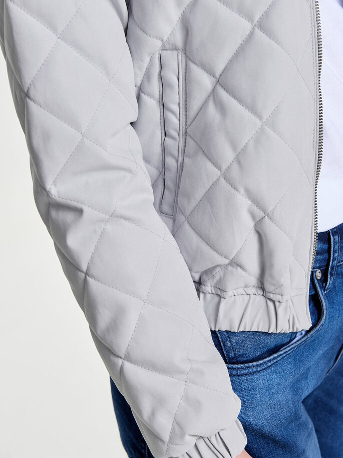 QUILTED BOMBER JACKET, Pearl Blue, large