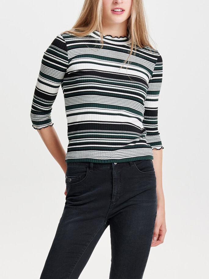 STRIPED 3/4 SLEEVED TOP, Cloud Dancer, large
