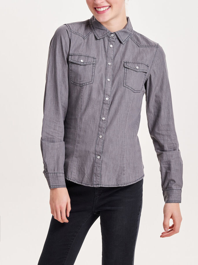 JEANS- LANGARMHEMD, Grey Denim, large