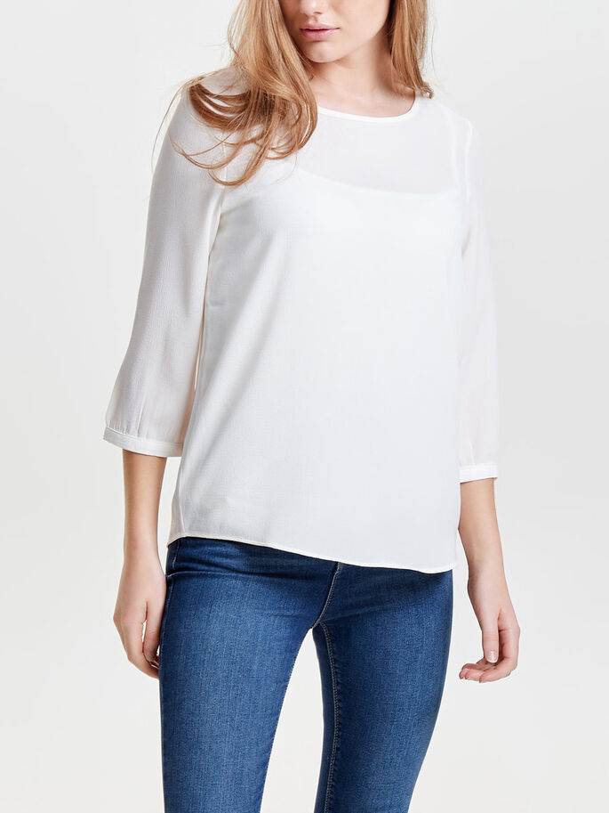 LOOSE FIT BLUS MED 3/4-ÄRMAR, Cloud Dancer, large