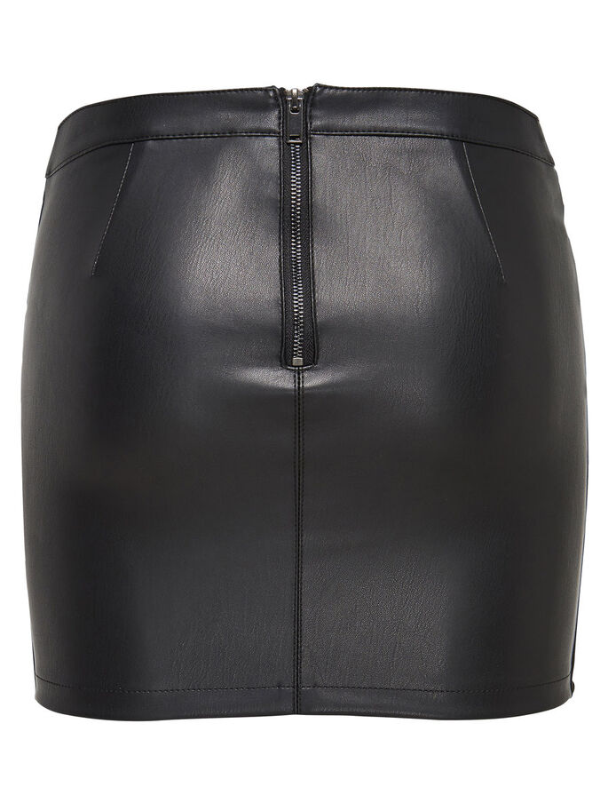LEATHER LOOK SKIRT, Black, large