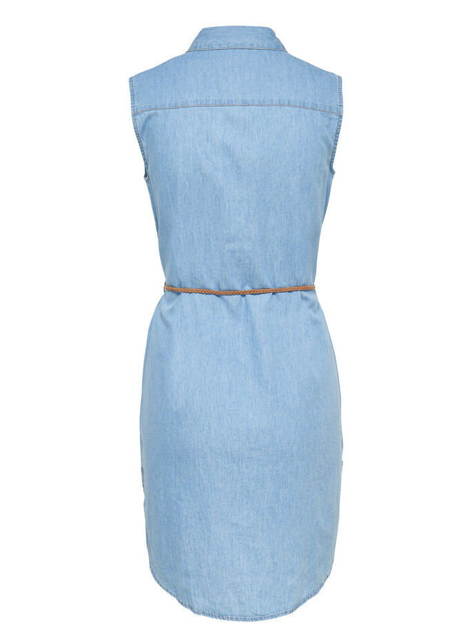 SLEEVELESS DENIM DRESS, Light Blue Denim, large