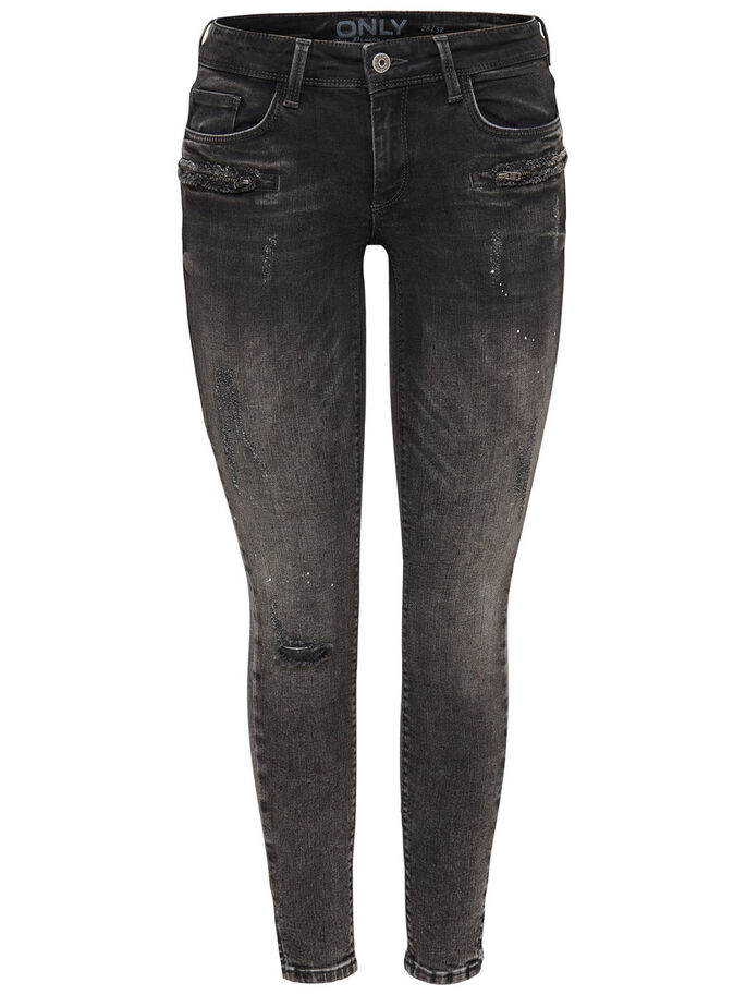 CARRIE LOW ZIP ANKLE SKINNY FIT JEANS, Grey Denim, large
