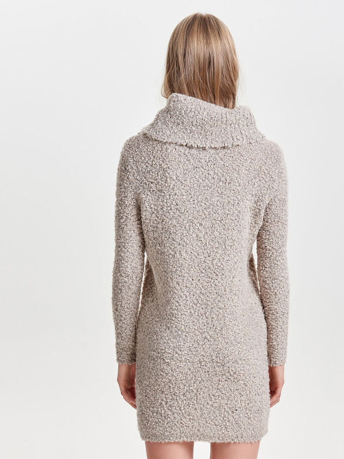 ROLLNECK KNITTED DRESS, Pumice Stone, large
