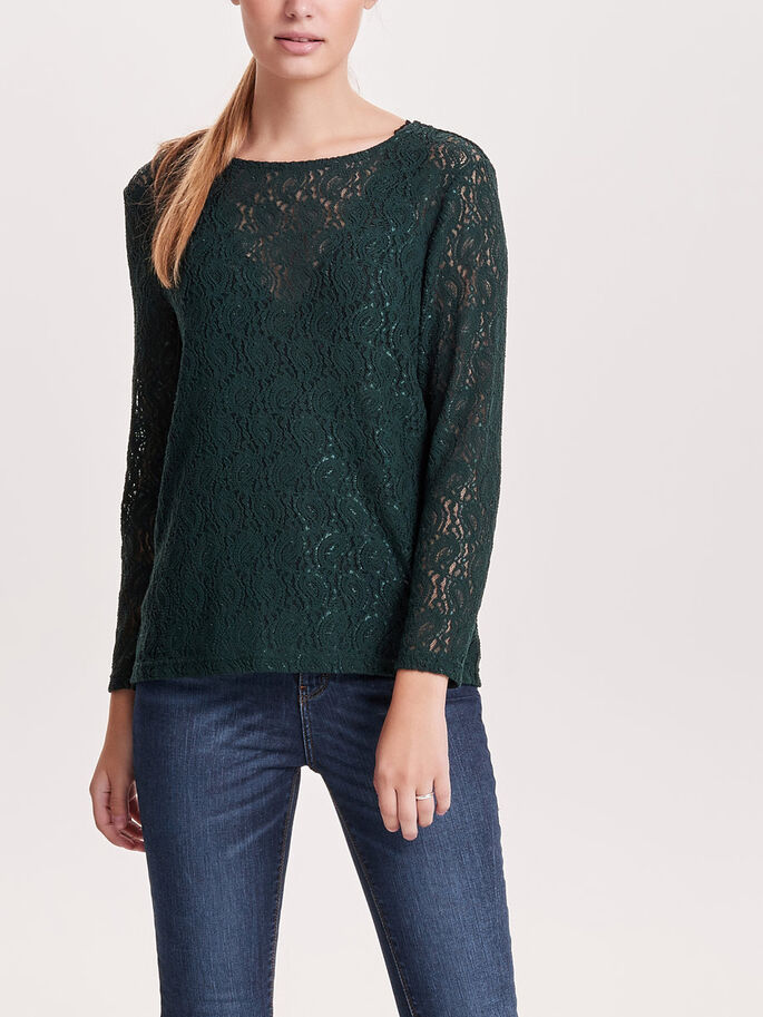 LACE LONG SLEEVED TOP, Scarab, large
