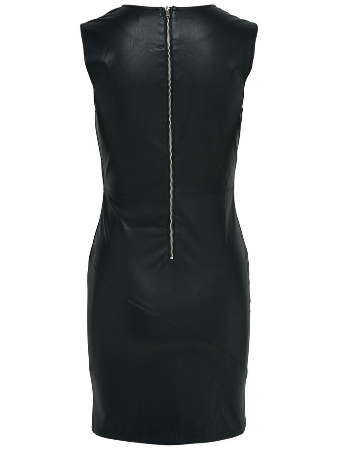 FAUX LEATHER SLEEVELESS DRESS, Black, large