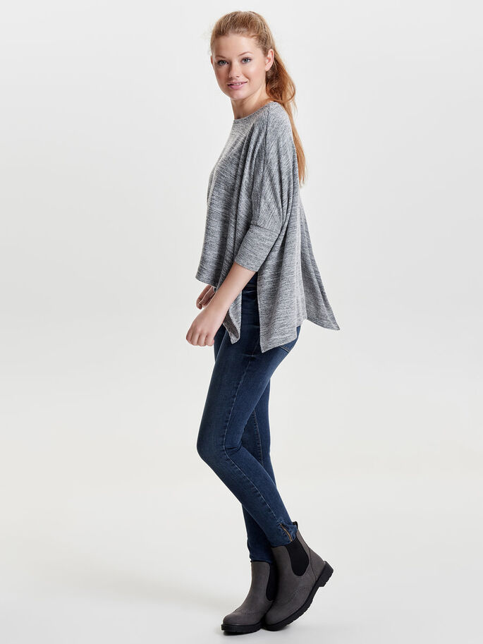 OVERSIZE TOPP MED 3/4 ERMER, Light Grey Melange, large