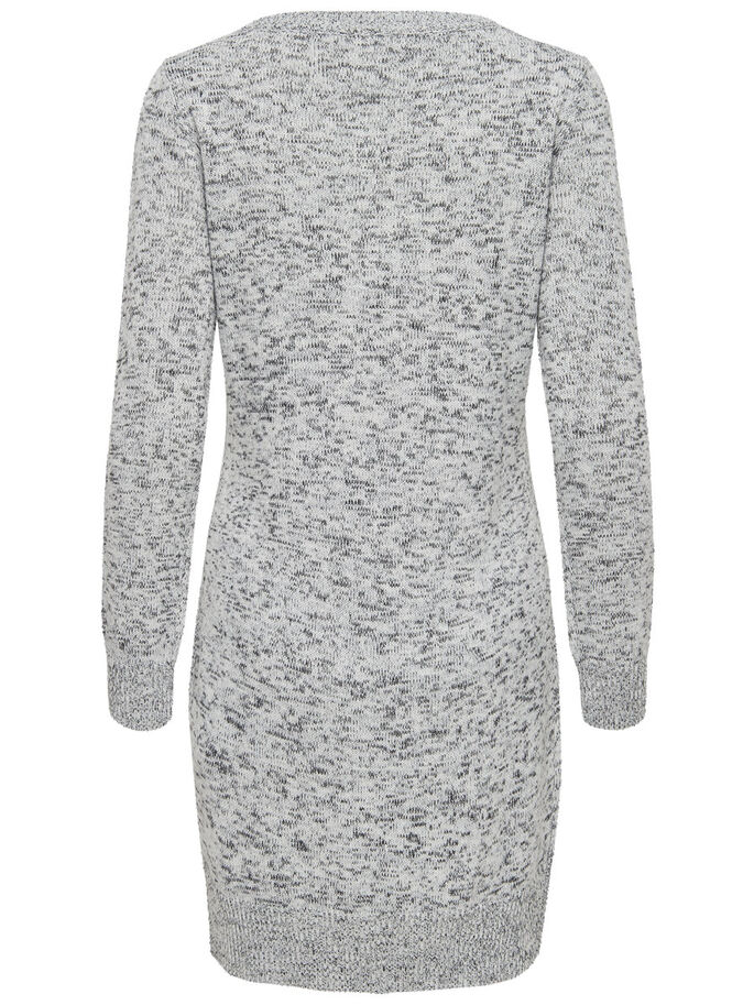LONG SLEEVED KNITTED DRESS, Cloud Dancer, large