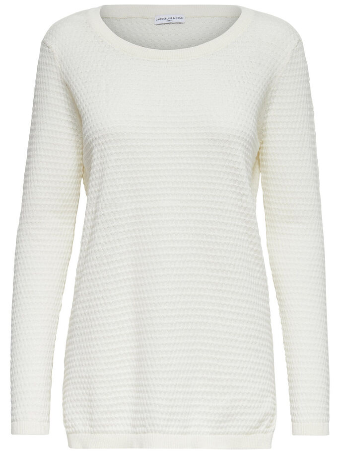 ENSFARGET STRIKKET PULLOVER, Cloud Dancer, large