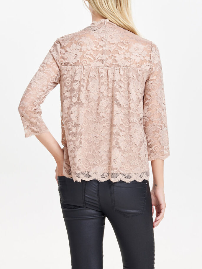 LACE 3/4 SLEEVED TOP, Warm Taupe, large