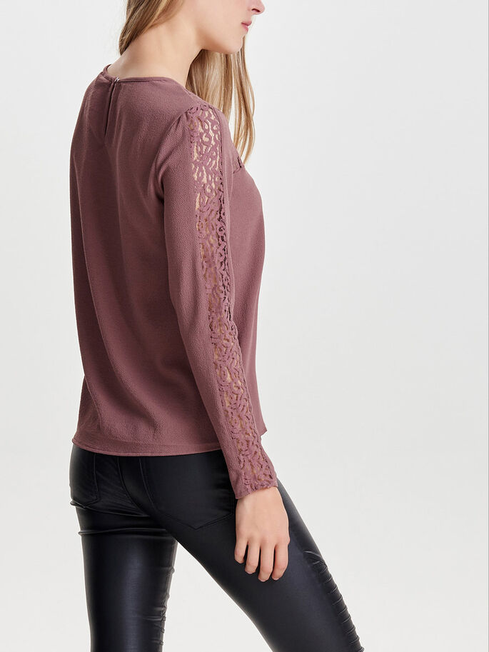 LACE LONG SLEEVED BLOUSE, Rose Taupe, large