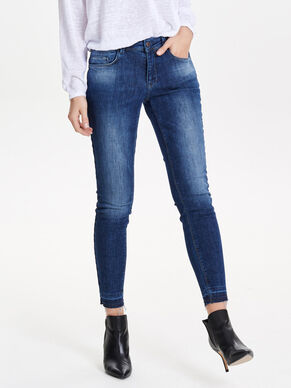 CORAL REG RAW EDGE ANKLE SKINNY FIT JEANS