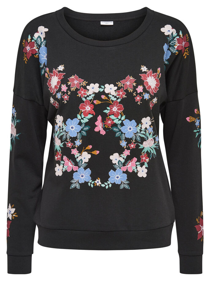 PRINTED SWEATSHIRT, Black, large