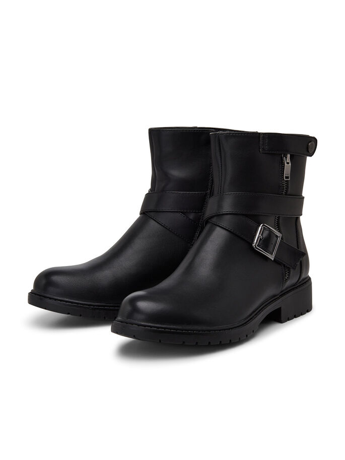 LEATHER LOOK BOOTS, Black, large
