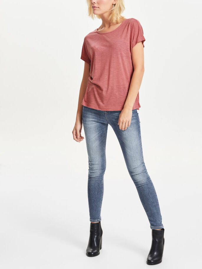 GEHAAKTE TOP MET KORTE MOUWEN, Canyon Rose, large