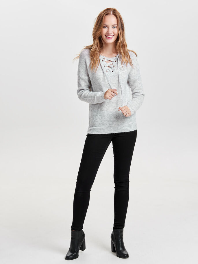 LACE-UP KNITTED PULLOVER, White, large