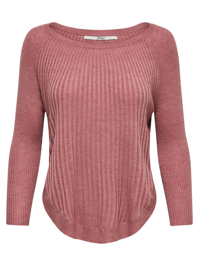 RIB KNITTED PULLOVER, Mesa Rose, large