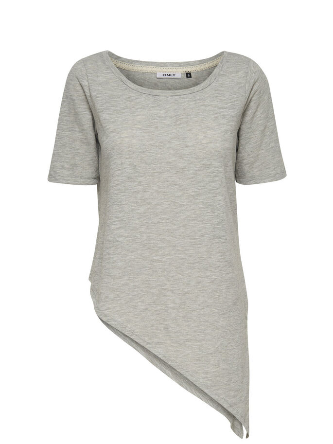 ASYMMETRIC SHORT SLEEVED TOP, Light Grey Melange, large