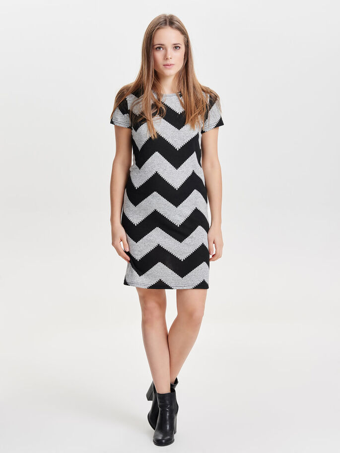 ZIGZAG SHORT SLEEVED DRESS, Light Grey Melange, large