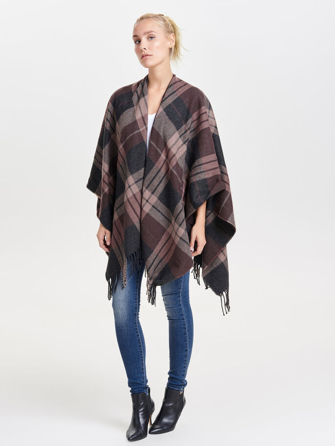 CHECKED PONCHO, Dark Grey Melange, large