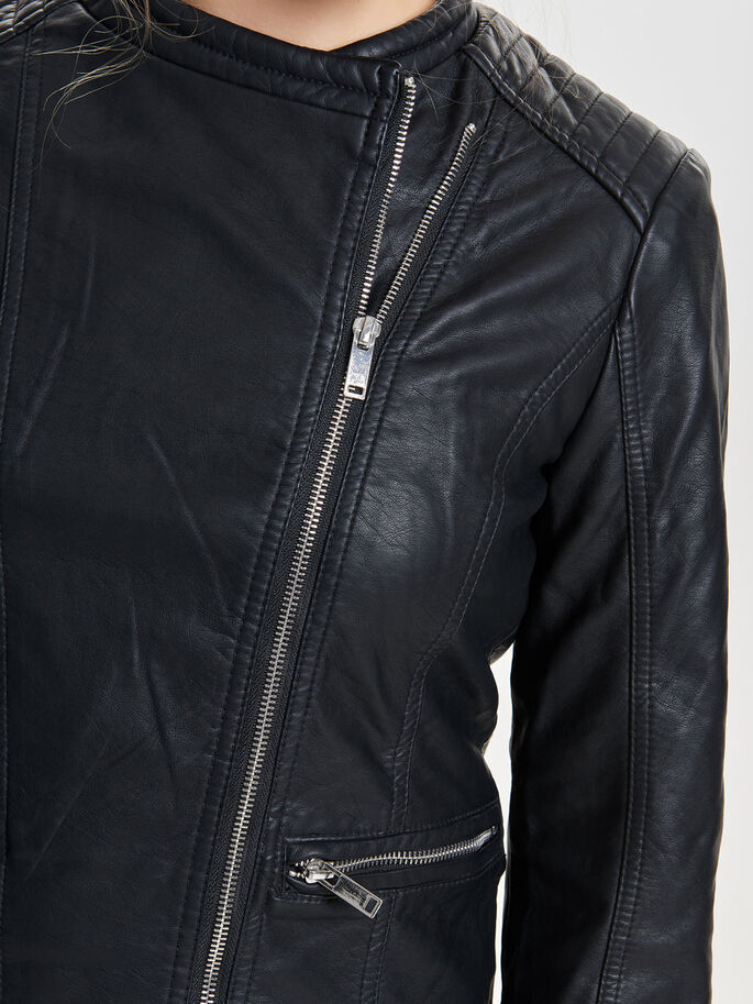 LEATHER LOOK JACKET, Black, large